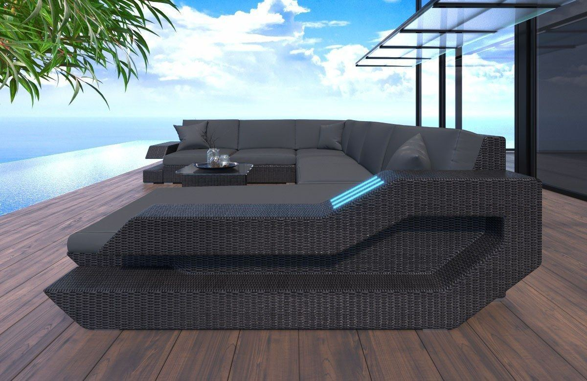 Rattan Sofa Messana U Form - Hochwertige Garten Loungemöbel
