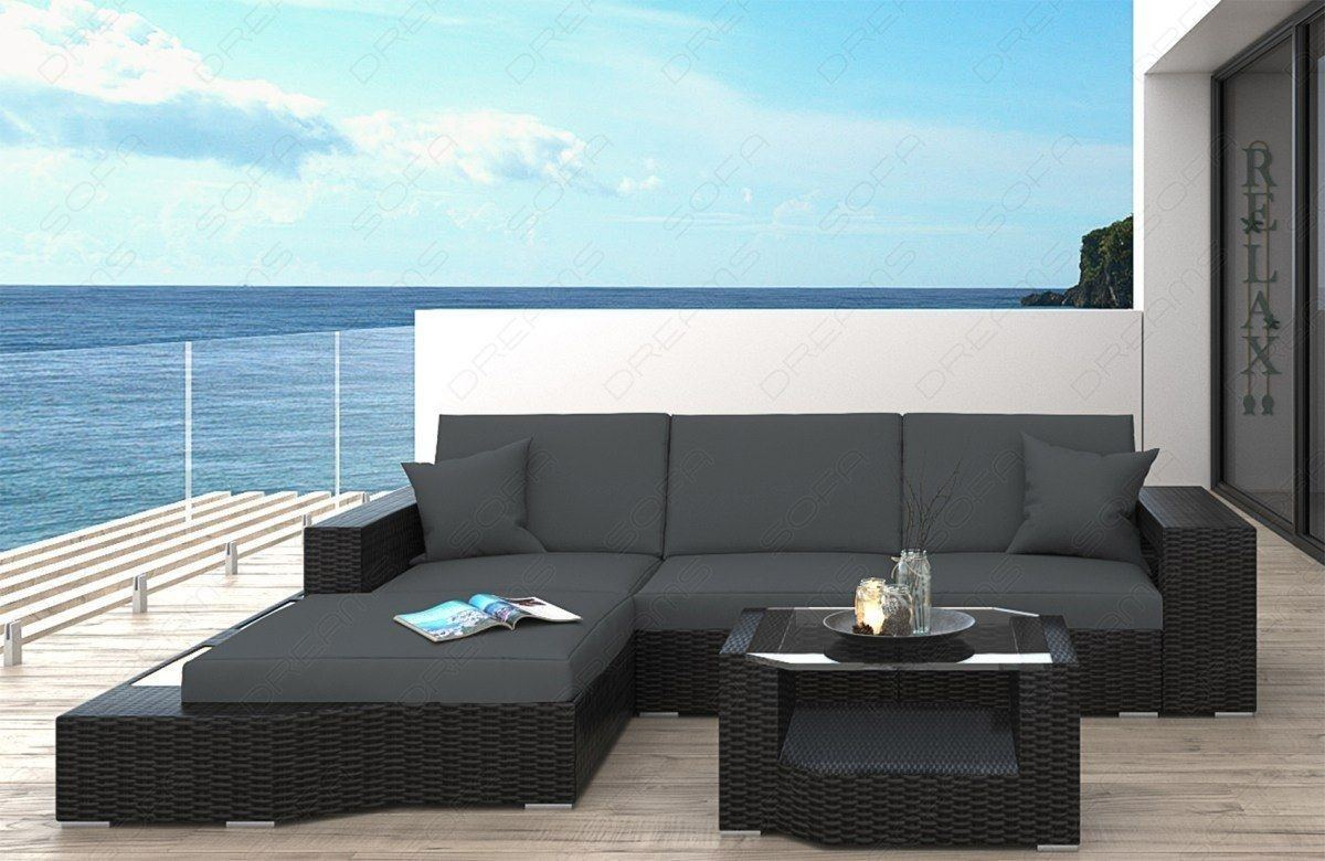 rattan sofa messana l form mit beleuchtung garten lounge. Black Bedroom Furniture Sets. Home Design Ideas