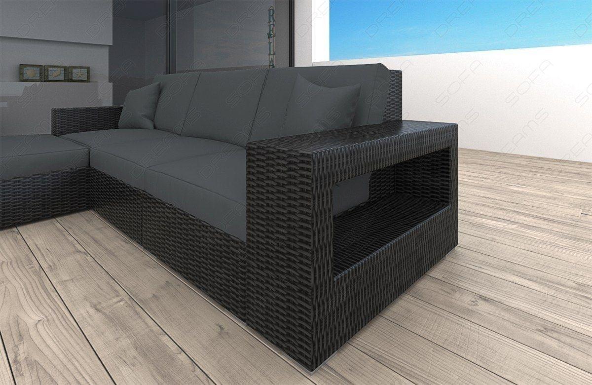 rattan sofa messana l form mit beleuchtung garten loungesofas. Black Bedroom Furniture Sets. Home Design Ideas