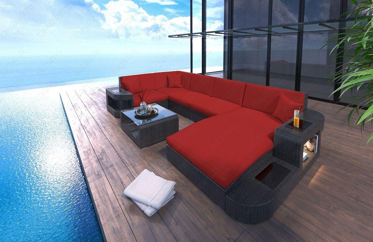 Rattan Sofa Wave In U Form Mit Beleuchtung Rattan Gartenmöbel