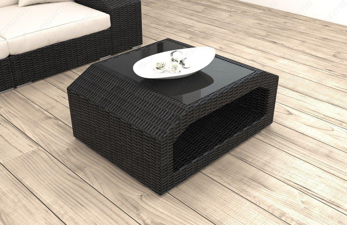 rattan tisch matera mit glasplatte moderne rattan loungem bel. Black Bedroom Furniture Sets. Home Design Ideas