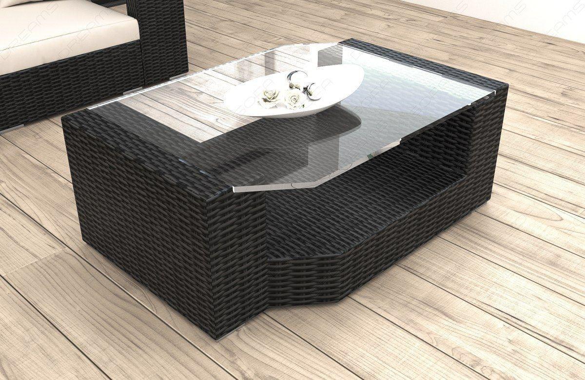 Rattan Tisch Messana Mit Glasplatte Garten Loungemobel Kaufen