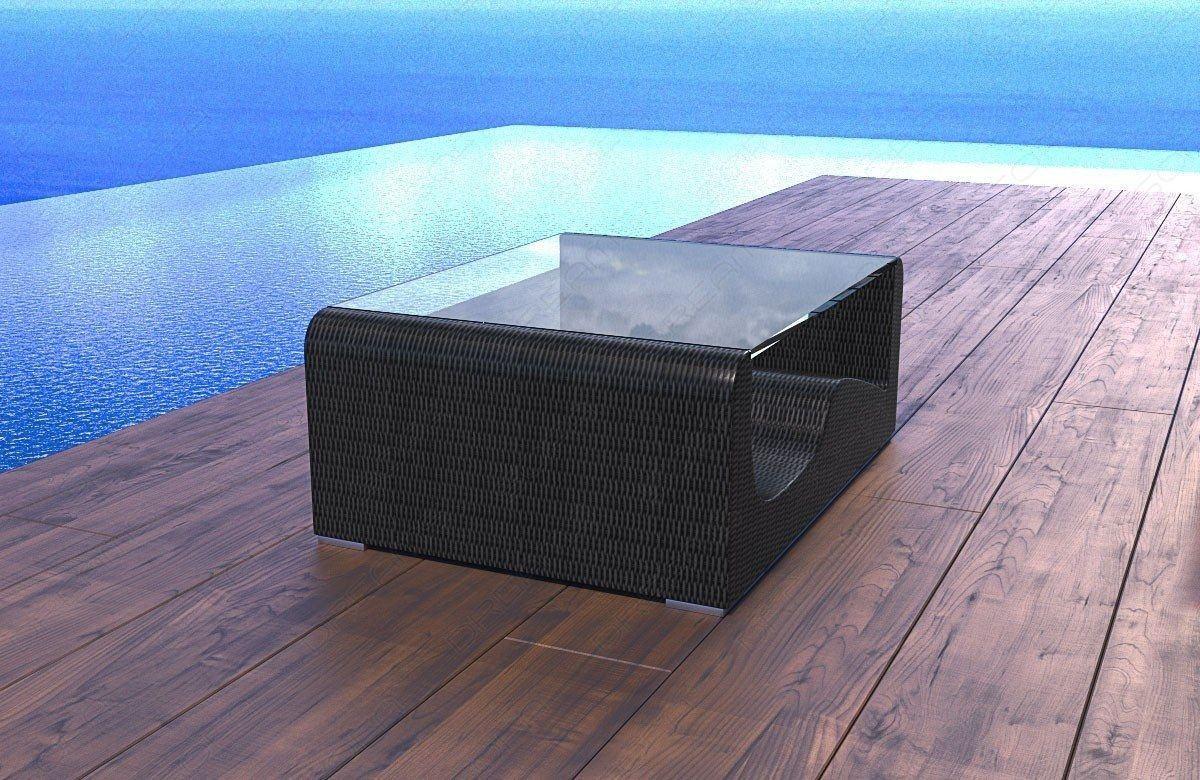 rattan tisch wave mit glasplatte moderne garten loungem bel. Black Bedroom Furniture Sets. Home Design Ideas