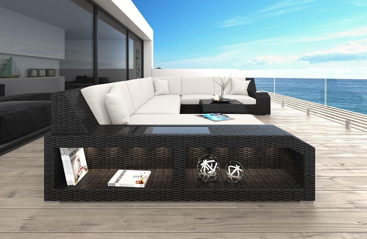 Rattan gartenmöbel sofa  Rattan Sofa Matera U mit LED Belleuchtung - Rattan Gartenmöbel