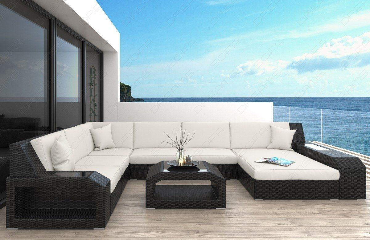 rattan sofa matera als u form wohnlandschaft garten. Black Bedroom Furniture Sets. Home Design Ideas