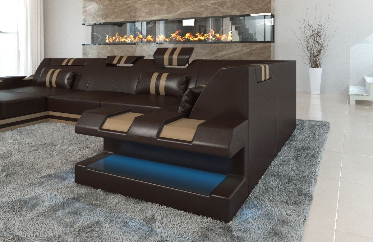sofa wohnlandschaft apollonia als u form in braun und beige. Black Bedroom Furniture Sets. Home Design Ideas