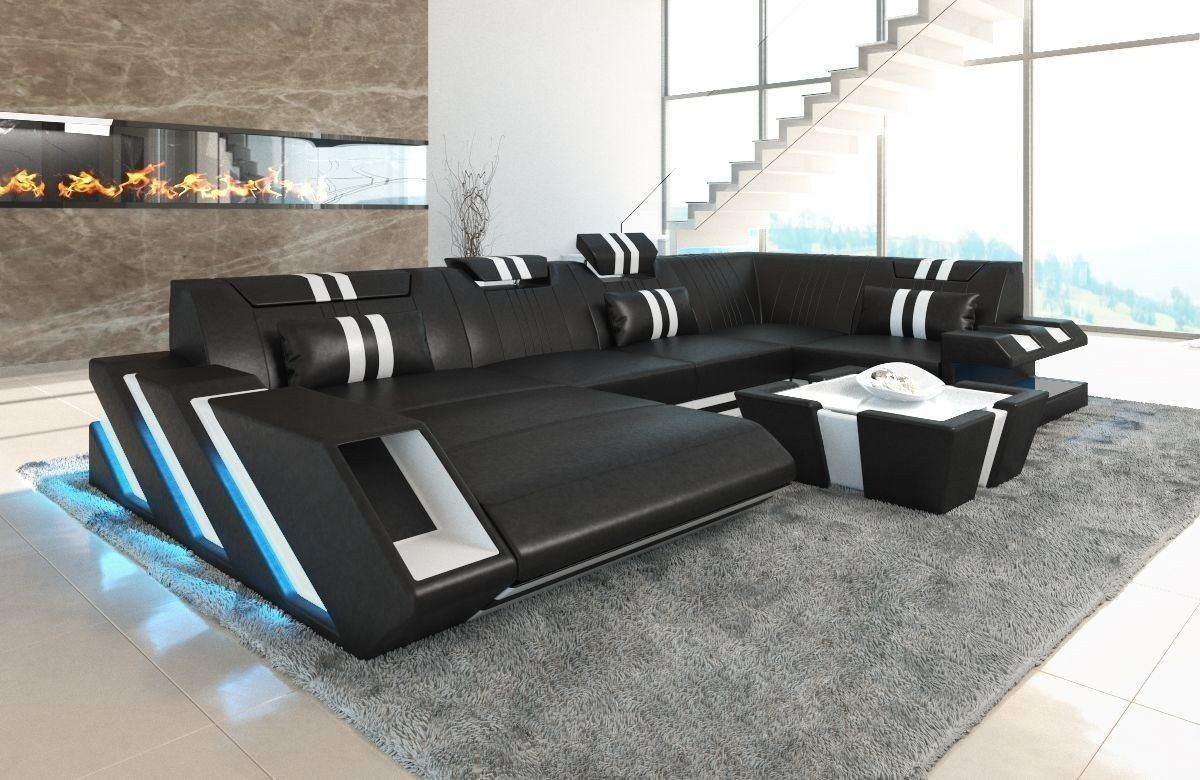 sofa wohnlandschaft apollonia als u form in schwarz und weiss. Black Bedroom Furniture Sets. Home Design Ideas