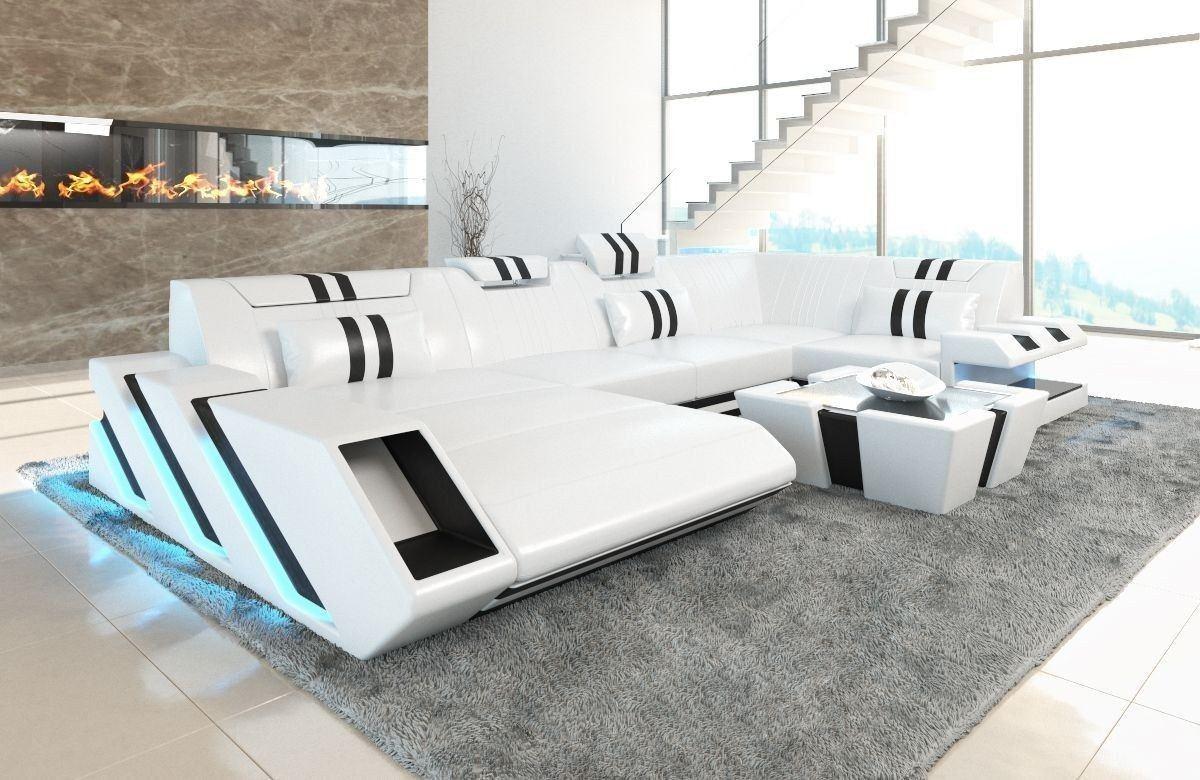 Sofa Wohnlandschaft Apollonia U Form weiss schwarz Sofa