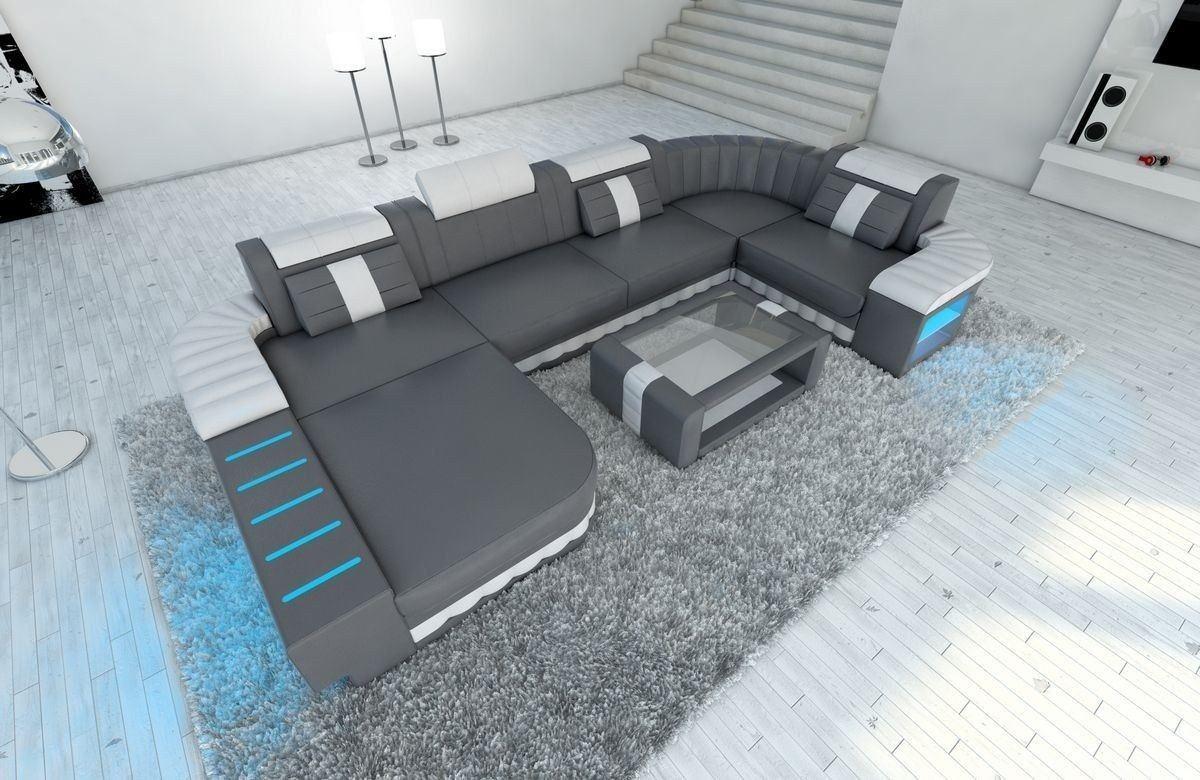 Sofa wohnlandschaft leder bellagio als u form in grau und for Leder wohnlandschaft u form