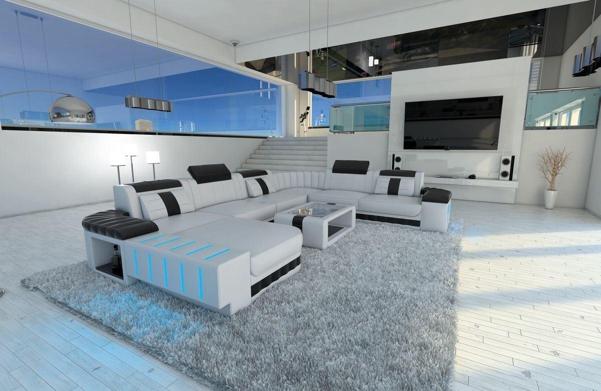 Moderne Wohnlandschaft Bellagio XXL In Weiss Schwarz Mit Stauraum