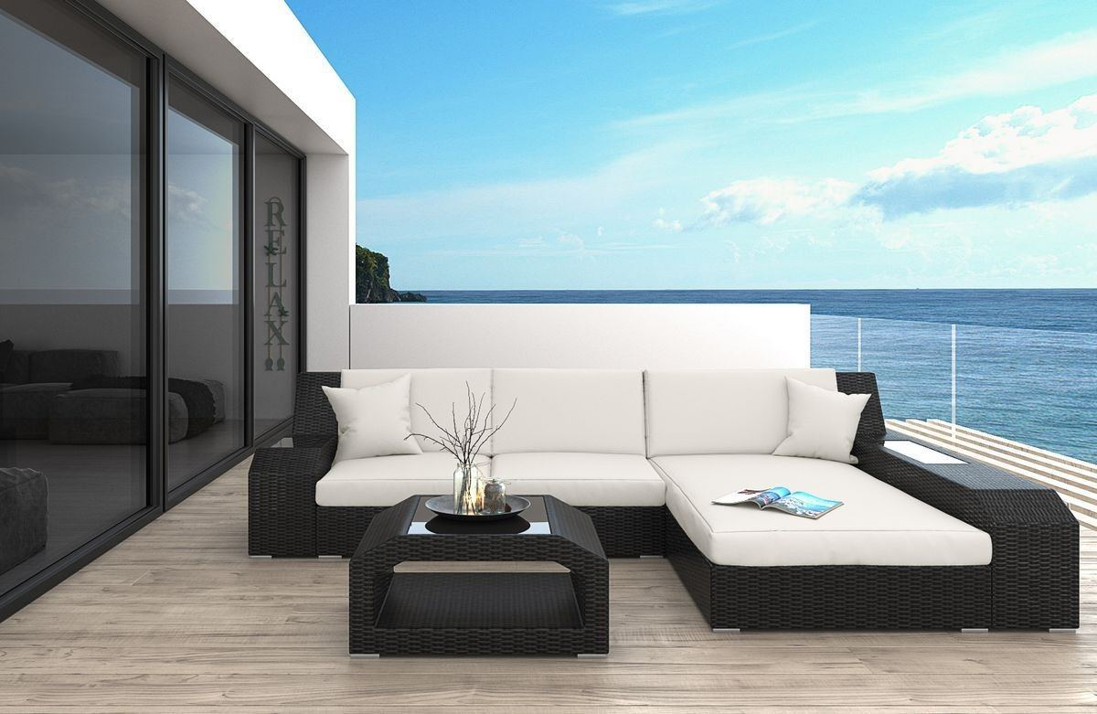 Rattan Sofa Matera L mit LED Beleuchtung - Rattan Gartenmöbel