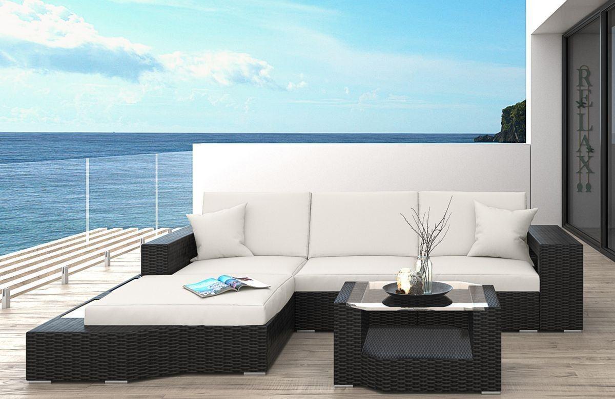 Rattan Sofa Messana L-Form LED - Rattan Gartenmöbel