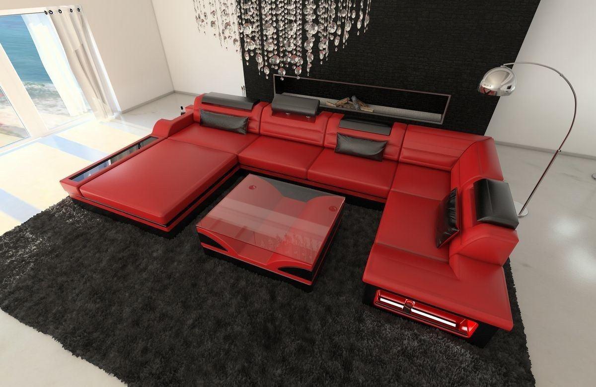 leder wohnlandschaft mezzo u form rot schwarz. Black Bedroom Furniture Sets. Home Design Ideas