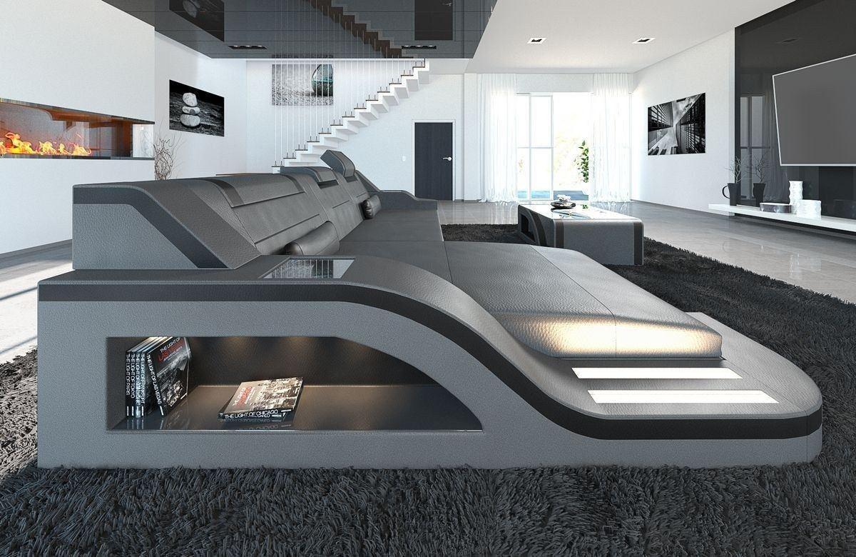 sofa palermo in leder als l form ecksofa in den farben grau schwarz. Black Bedroom Furniture Sets. Home Design Ideas