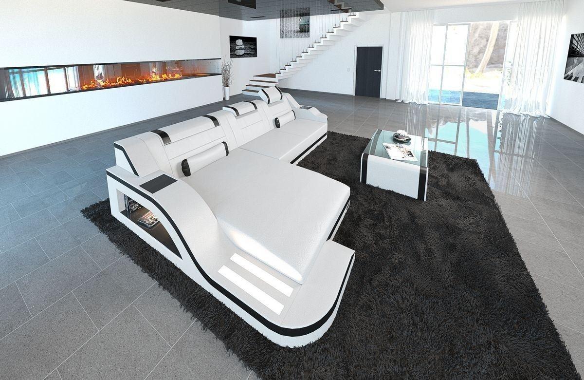 sofa palermo in leder als l form ecksofa in den farben weiss schwarz. Black Bedroom Furniture Sets. Home Design Ideas