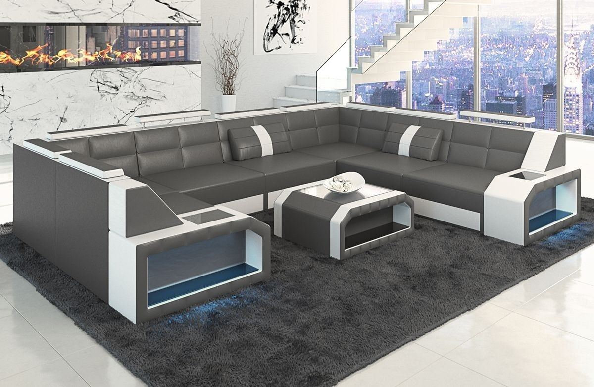 Sofa wohnlandschaft pesaro in leder als u form grau und weiss for Sofa wohnlandschaft