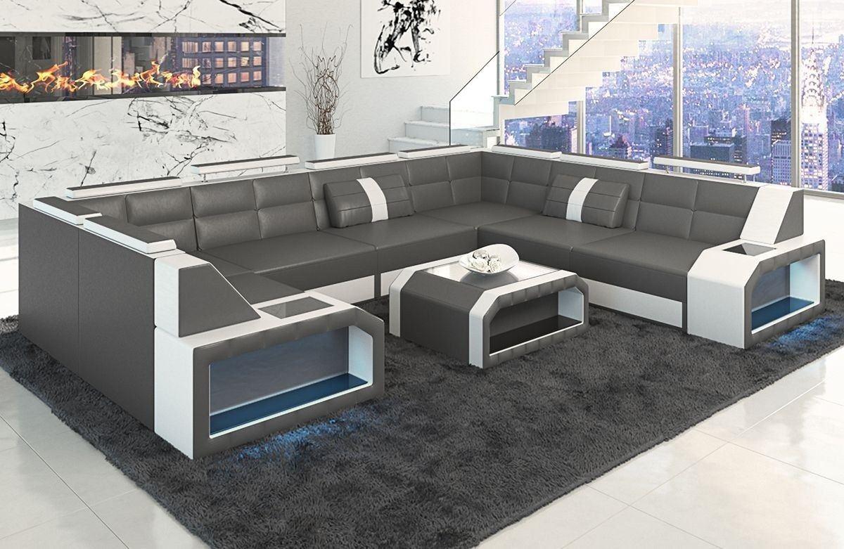 Sofa wohnlandschaft pesaro in leder als u form grau und weiss for Couch grau u form
