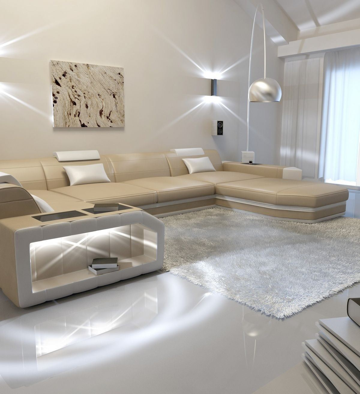leder wohnlandschaft presto u form sandbeige weiss. Black Bedroom Furniture Sets. Home Design Ideas