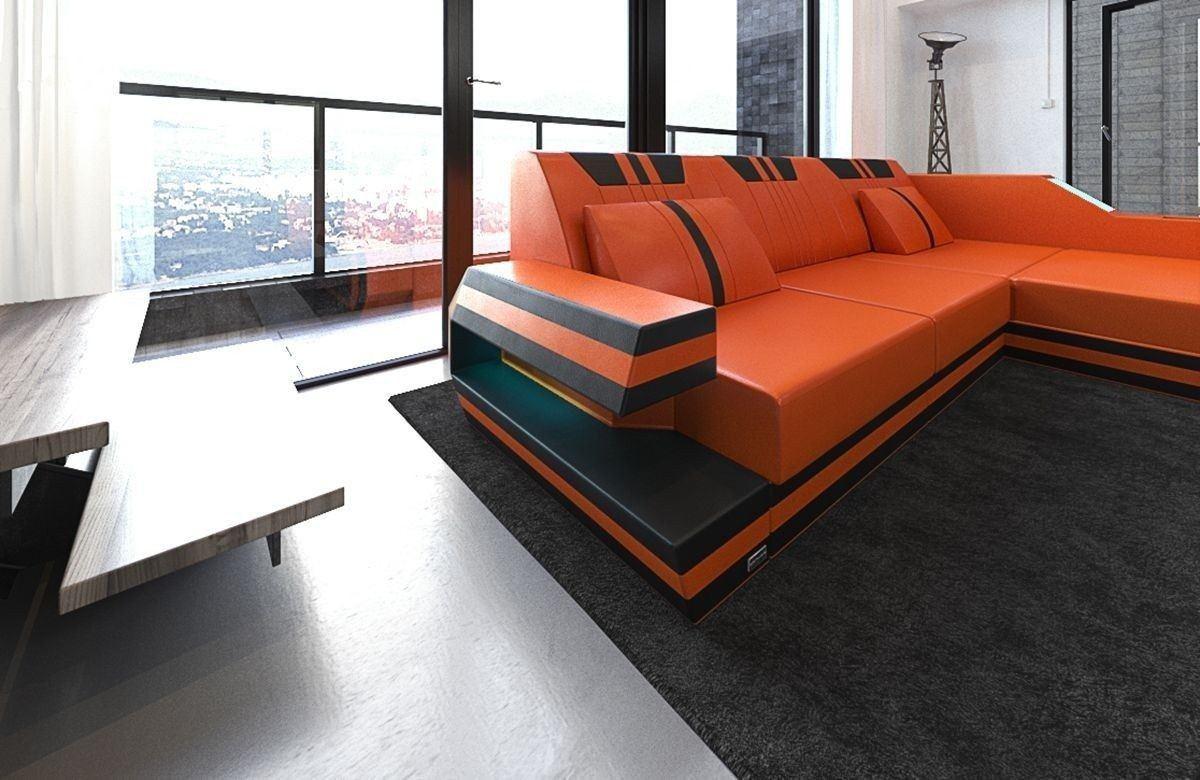 sofa ravenna in leder als ecksofa l form in den farben orange schwarz. Black Bedroom Furniture Sets. Home Design Ideas