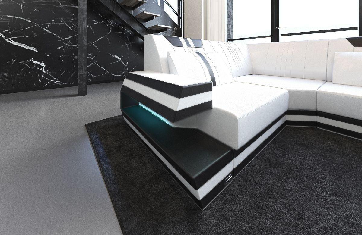 leder wohnlandschaft ravenna als u form mit farben weiss schwarz. Black Bedroom Furniture Sets. Home Design Ideas
