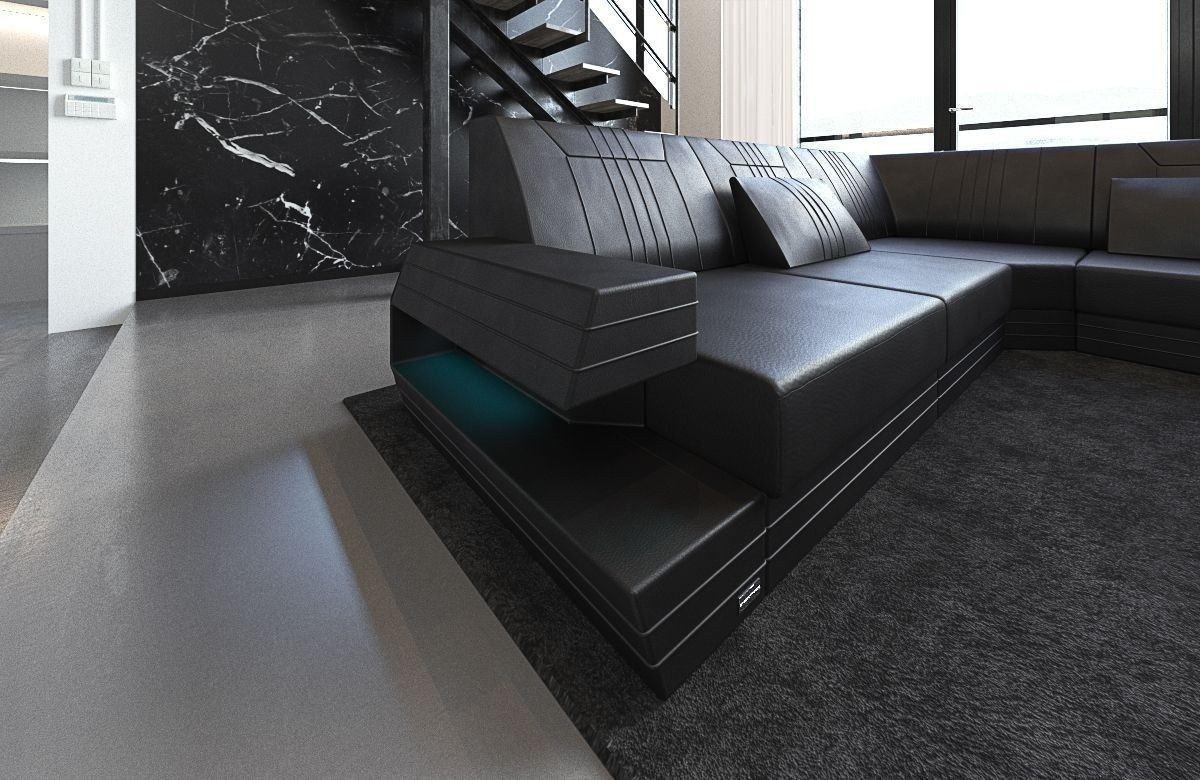 xxl wohnlandschaft ravenna in leder und der farbe schwarz. Black Bedroom Furniture Sets. Home Design Ideas