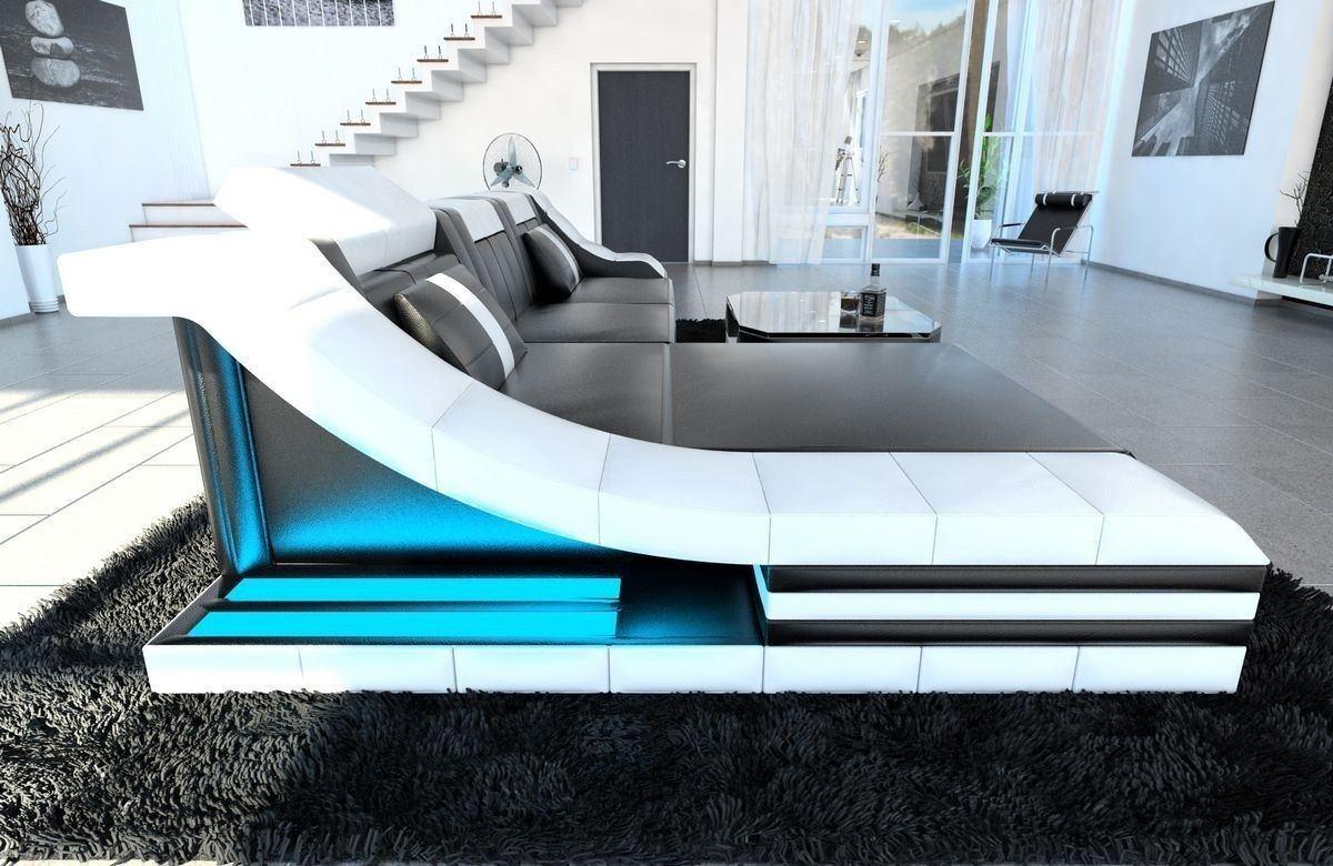 couch turino l form mit echtleder und kunstleder in schwarz weiss. Black Bedroom Furniture Sets. Home Design Ideas