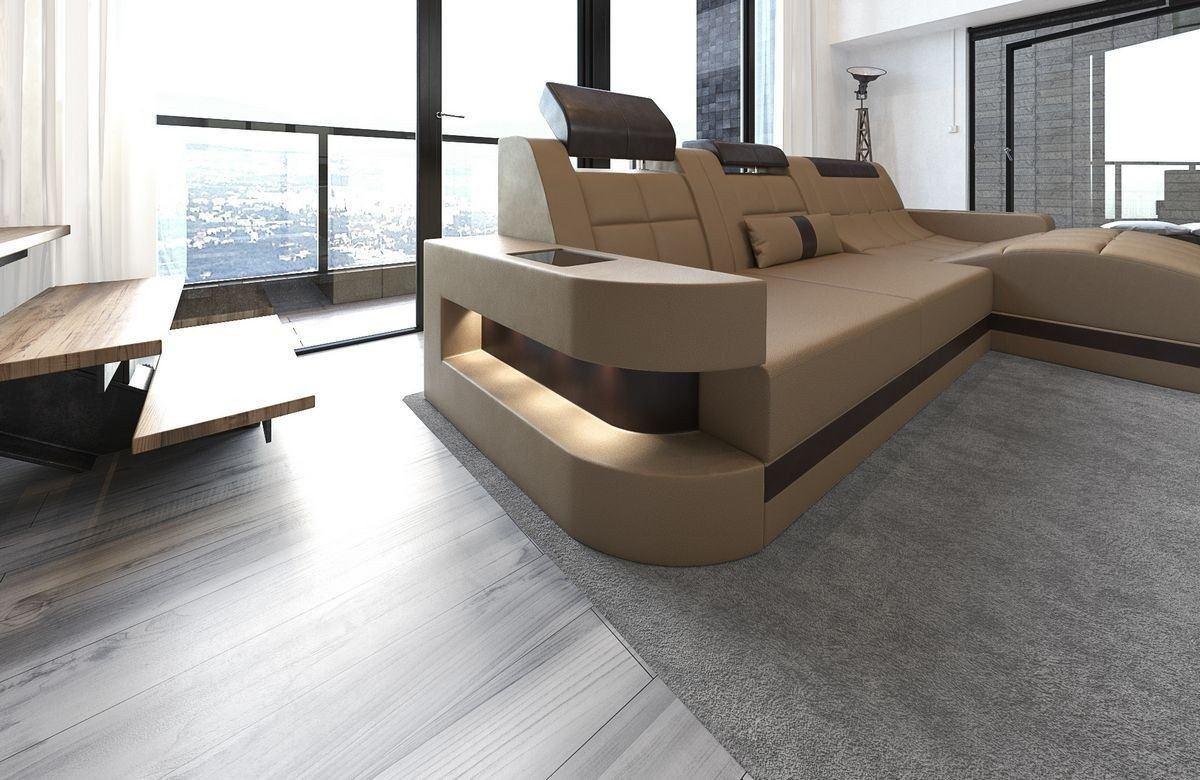 ledersofa wave l form sandbeige dunkelbraun. Black Bedroom Furniture Sets. Home Design Ideas