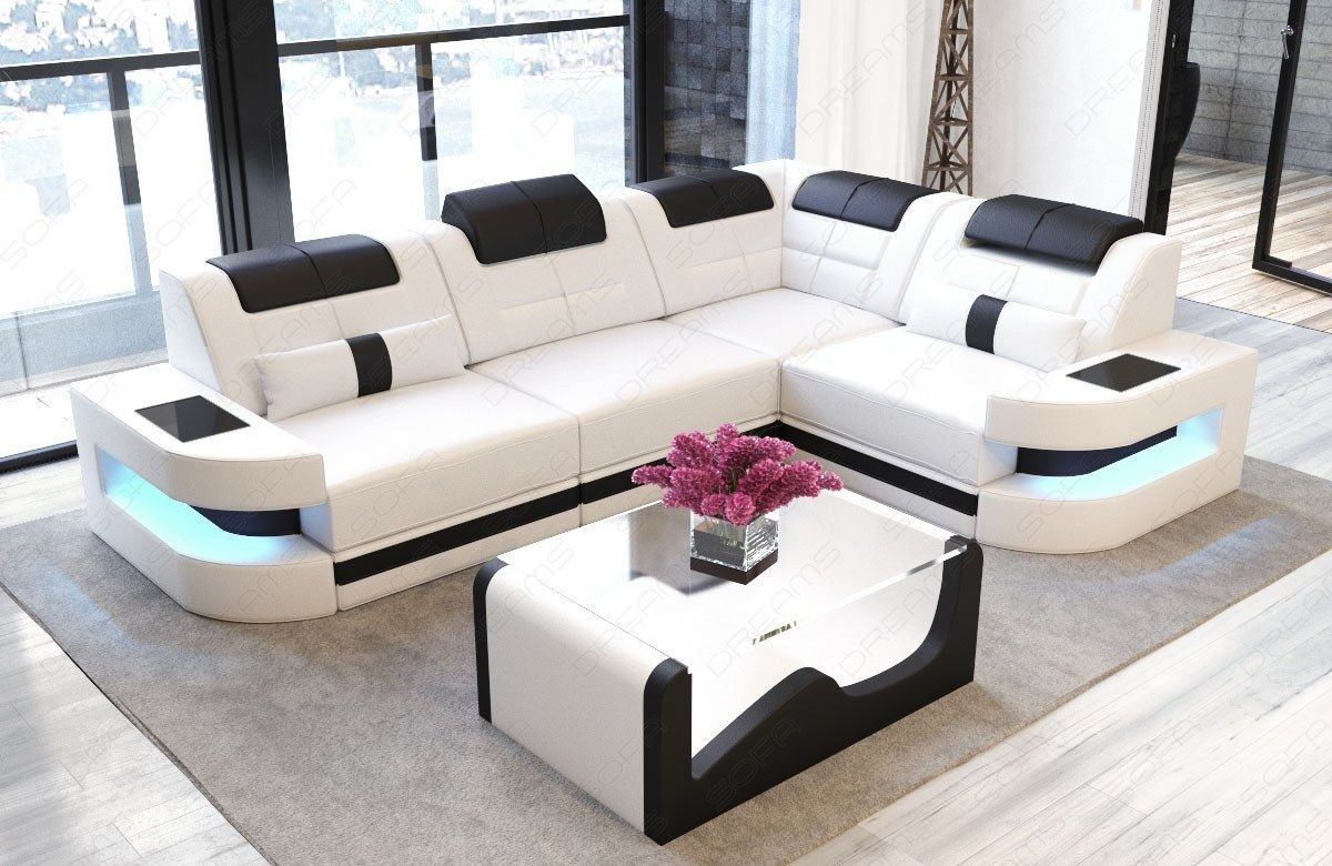 ledersofa como in der l form als ecksofa in weiss und schwarz. Black Bedroom Furniture Sets. Home Design Ideas