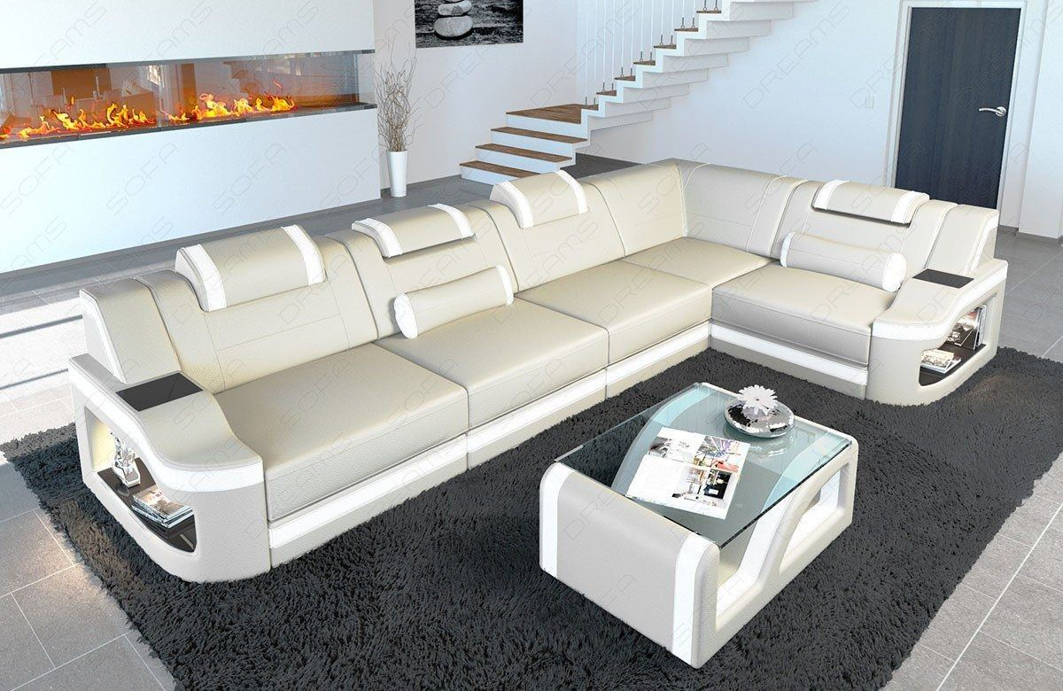 leder ecksofa padua l form led beleuchtung verstellbare kopfst tzen. Black Bedroom Furniture Sets. Home Design Ideas