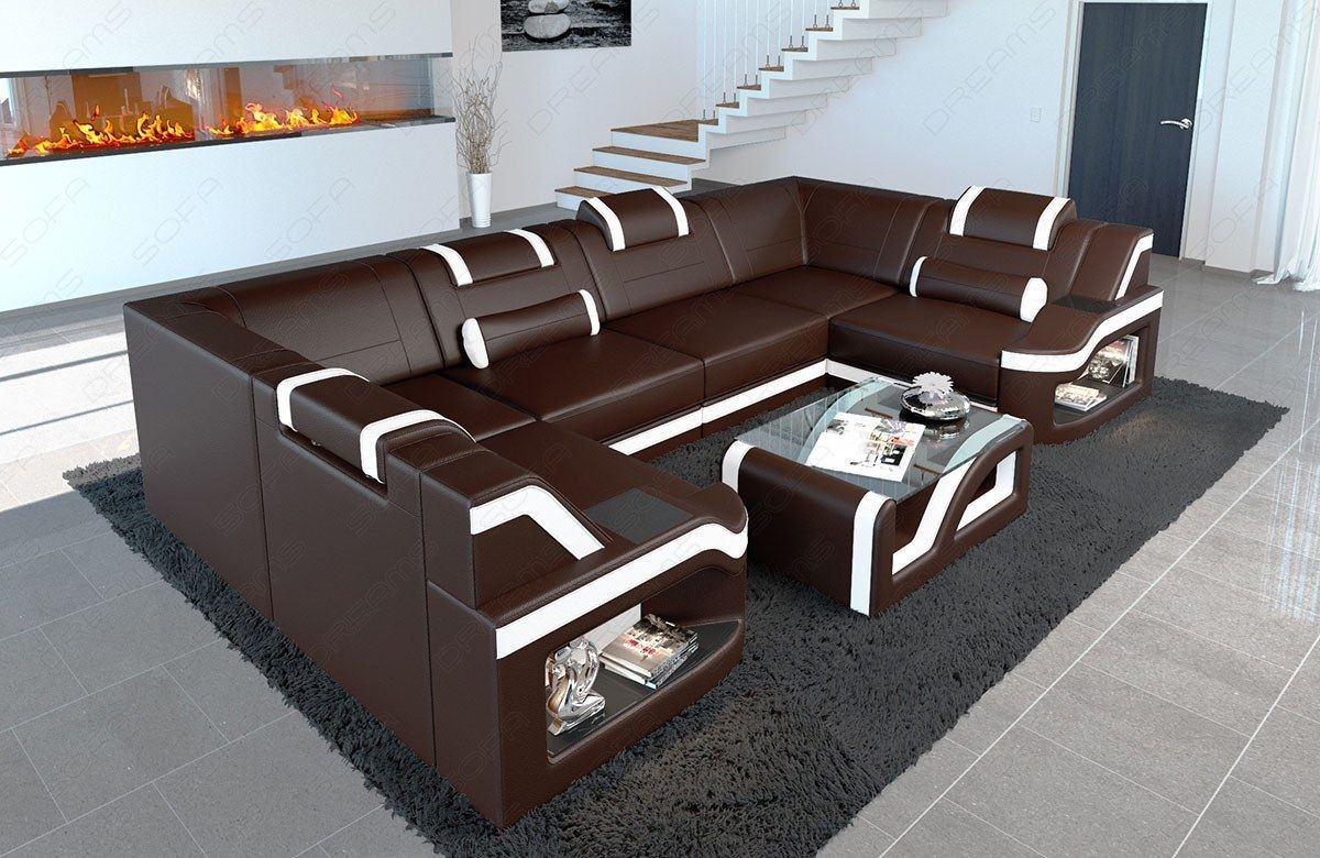 leder wohnlandschaft padua u form mit led beleuchtung. Black Bedroom Furniture Sets. Home Design Ideas