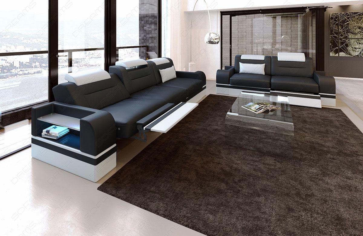 couchgarnitur parma 3er und 2er in leder moderne leder couchgarnitur. Black Bedroom Furniture Sets. Home Design Ideas