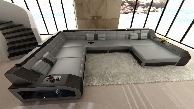 design wohnlandschaft matera xxl in den farben grau schwarz. Black Bedroom Furniture Sets. Home Design Ideas