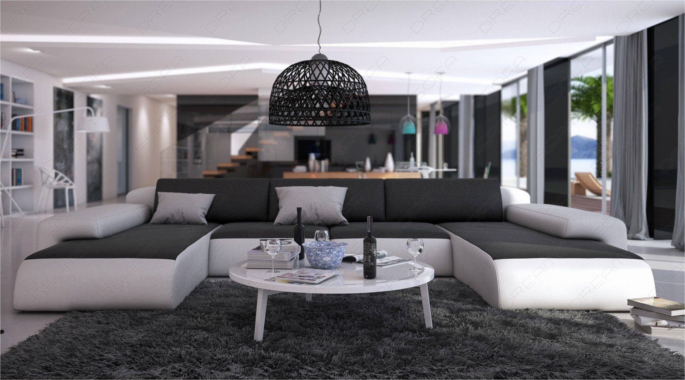 Gunstige Wohnlandschaft Serlas In Leder U Form Sofa Mit Ottomane