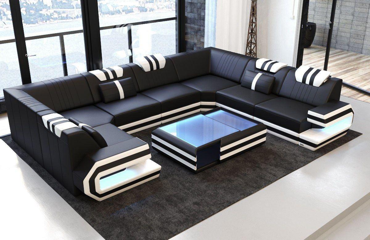 sofa ragusa in der u form in echtleder oder auch kunstleder mix. Black Bedroom Furniture Sets. Home Design Ideas