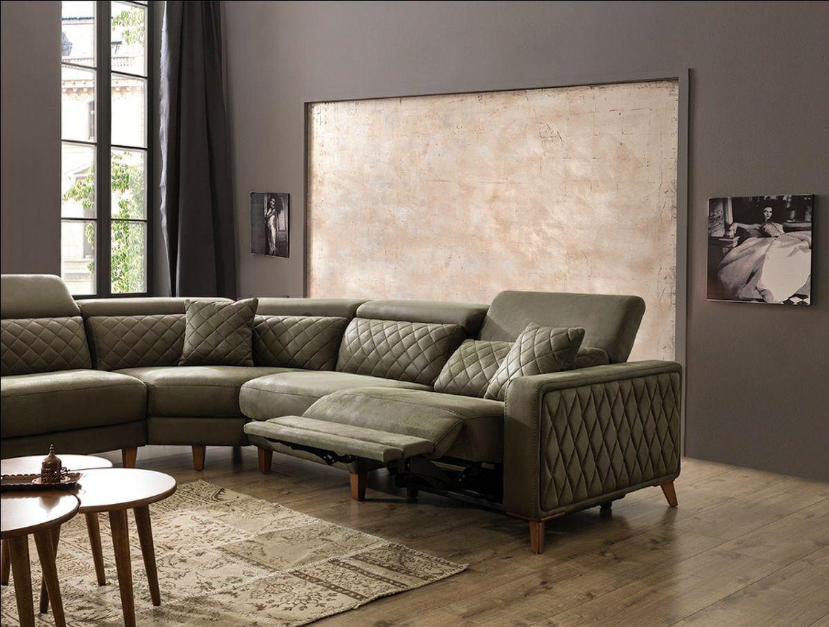 luxus ecksofa krefeld in stoff mit chesterfield optik und recliner. Black Bedroom Furniture Sets. Home Design Ideas