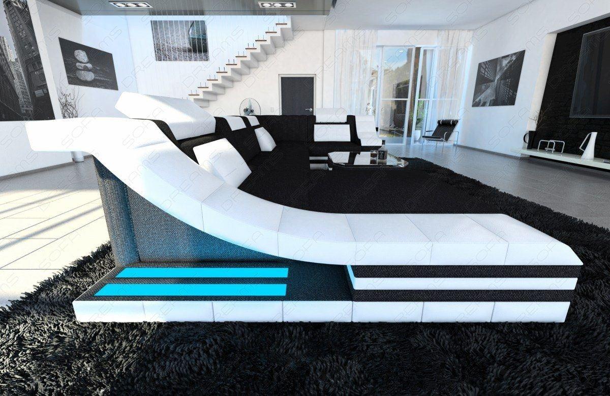 Designer Couch Turino U Form In Stoff Stoffsofa Mit Ottomane