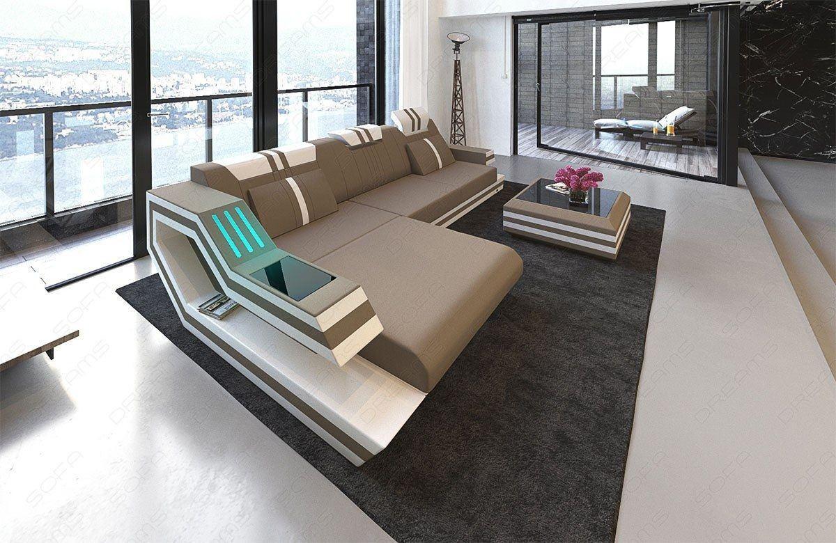 ecksofa ravenna in stoff als l form mit beleuchtung. Black Bedroom Furniture Sets. Home Design Ideas
