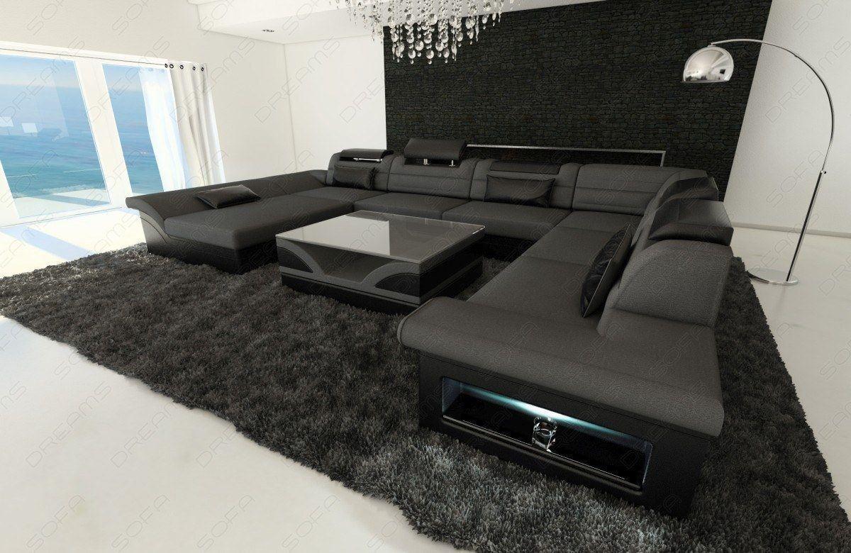 Moderne Wohnlandschaft Enzo Als Xxl Couch In Stoff Und Récamière