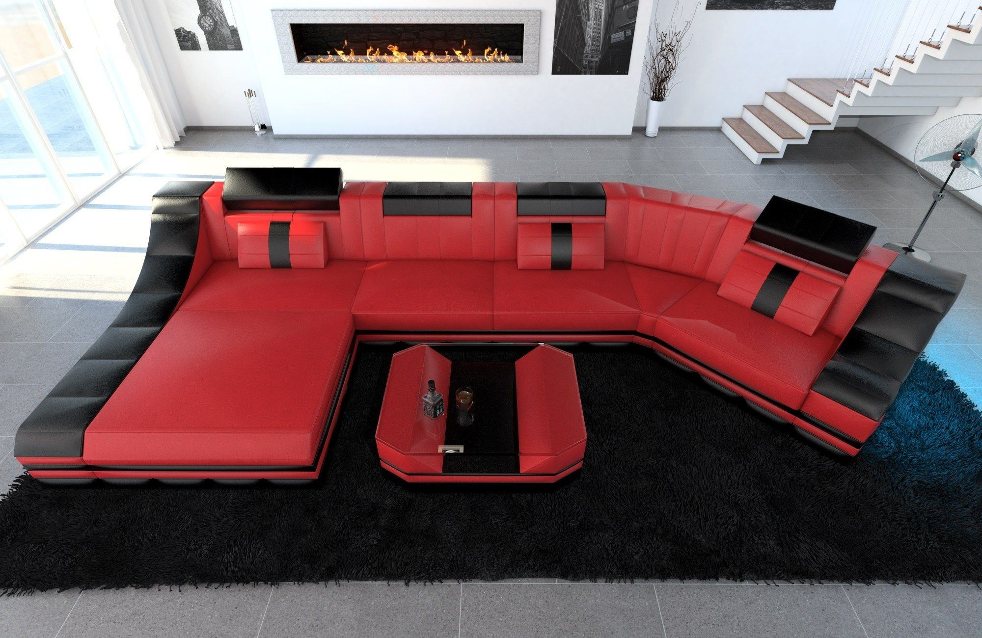leder wohnlandschaft turino c form rot schwarz. Black Bedroom Furniture Sets. Home Design Ideas