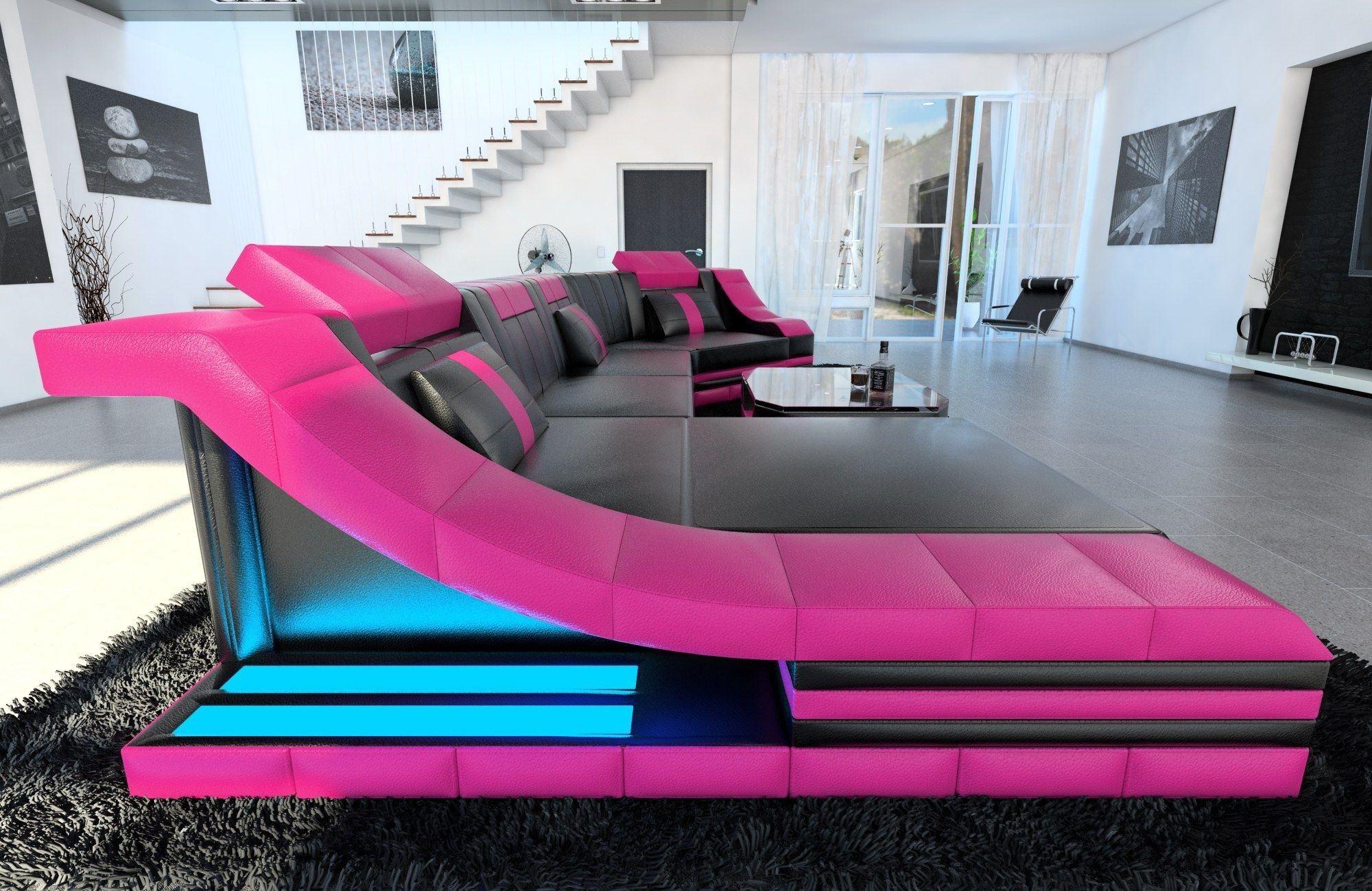leder wohnlandschaft turino c form schwarz pink. Black Bedroom Furniture Sets. Home Design Ideas