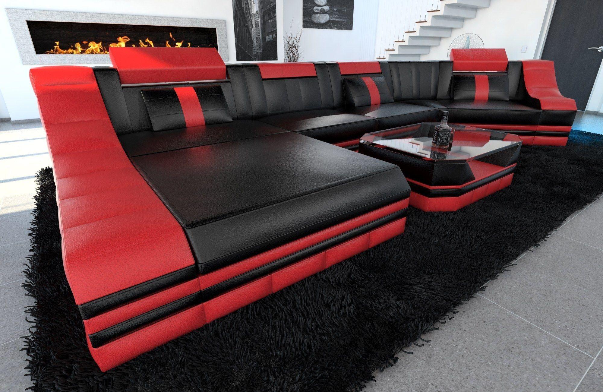 leder wohnlandschaft turino c form schwarz rot. Black Bedroom Furniture Sets. Home Design Ideas