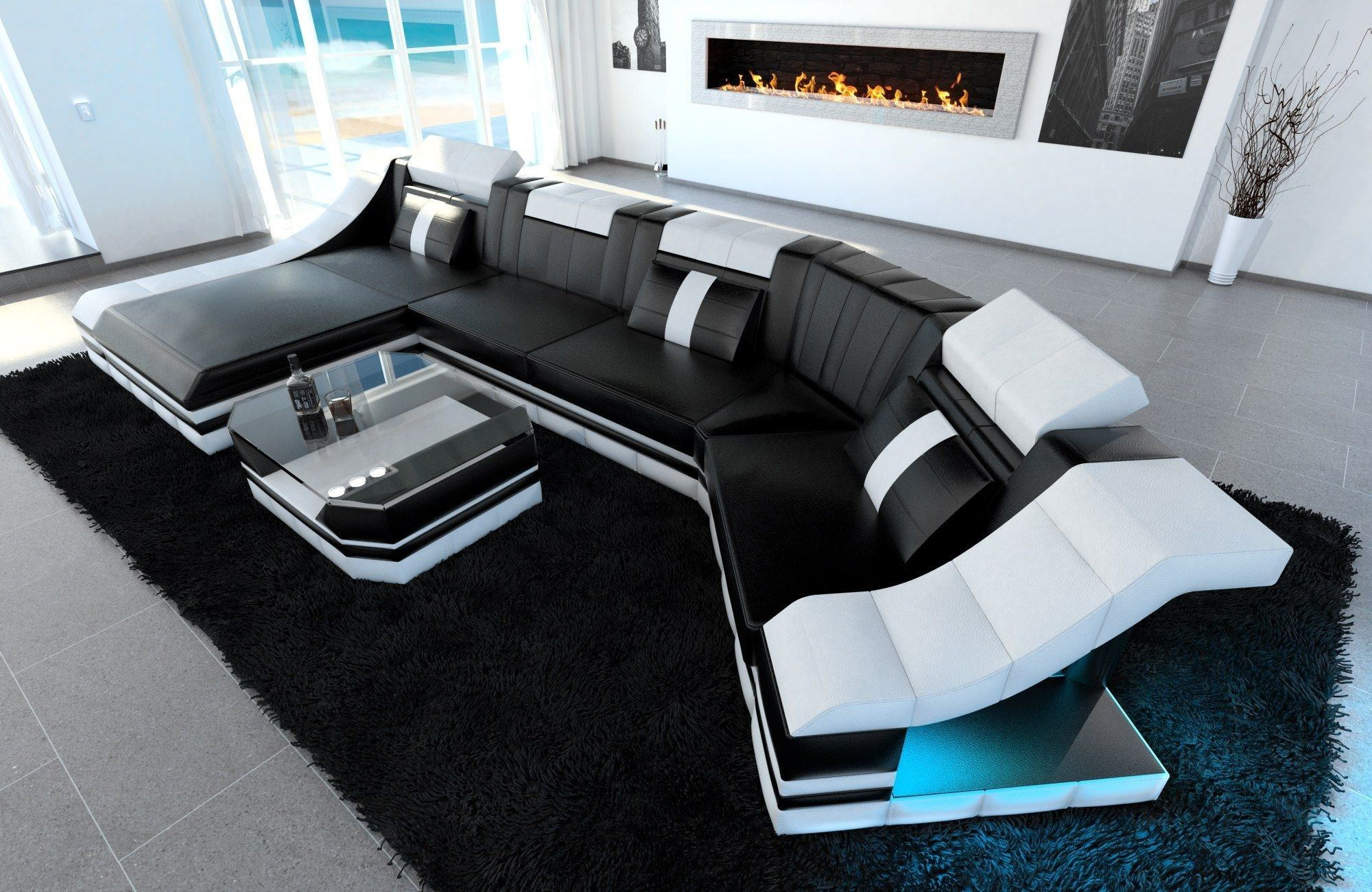leder wohnlandschaft turino c form schwarz weiss. Black Bedroom Furniture Sets. Home Design Ideas