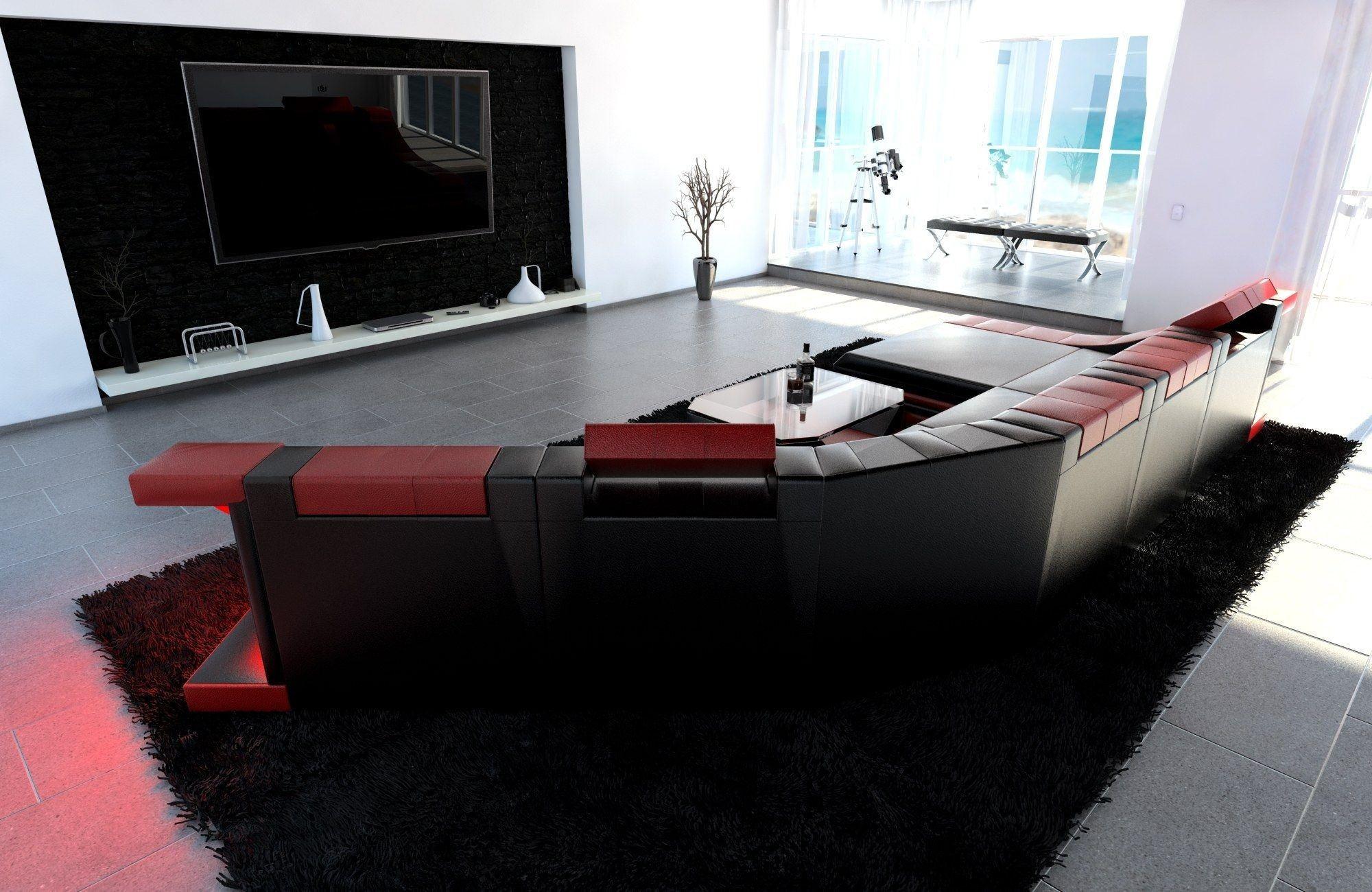xxl wohnlandschaft turino cl form schwarz rot. Black Bedroom Furniture Sets. Home Design Ideas