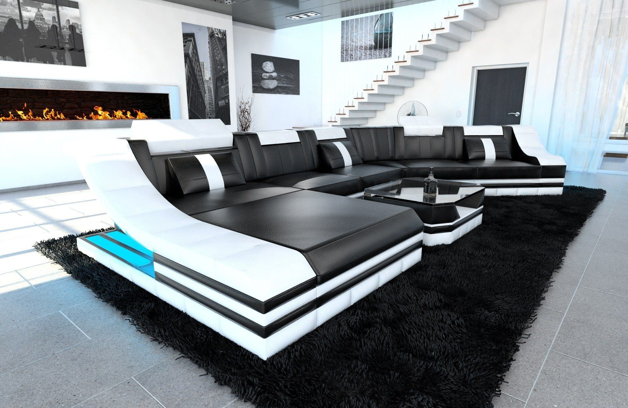 Xxl wohnlandschaft turino cl leder schwarz wei mit - Black and white modern living room furniture ...