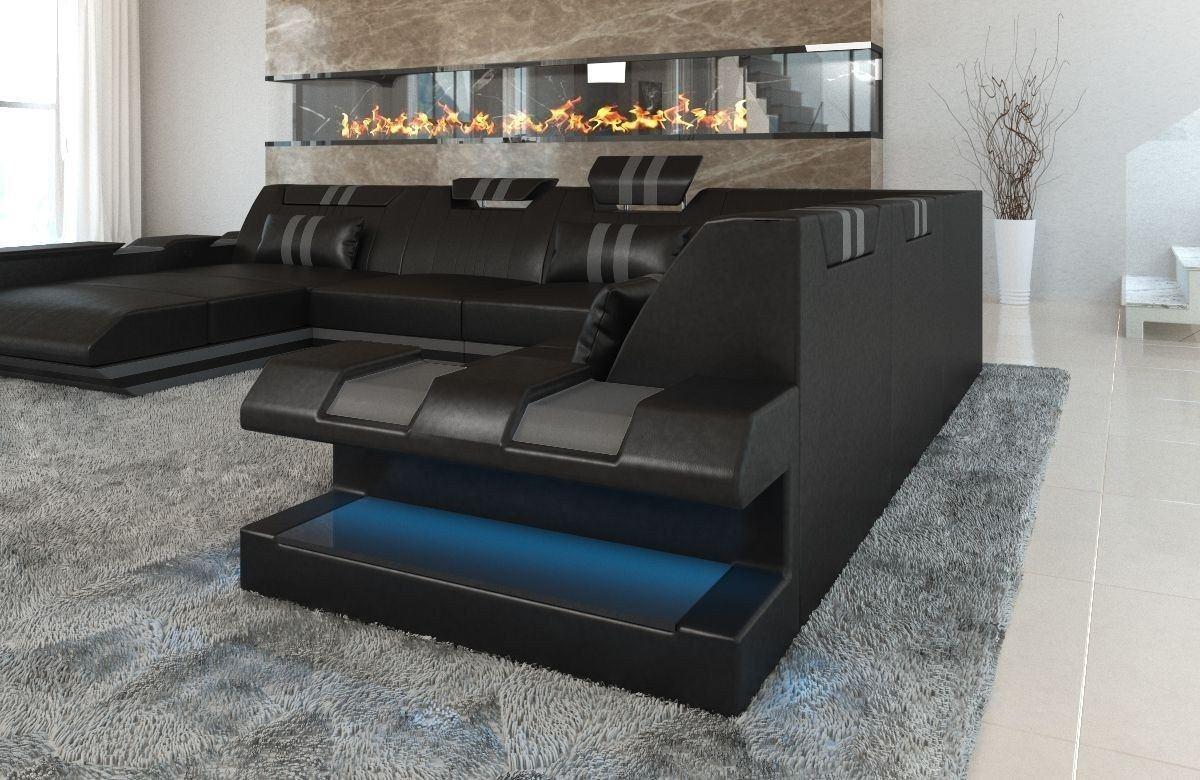 xxl leder wohnlandschaft apollonia in schwarz und grau. Black Bedroom Furniture Sets. Home Design Ideas