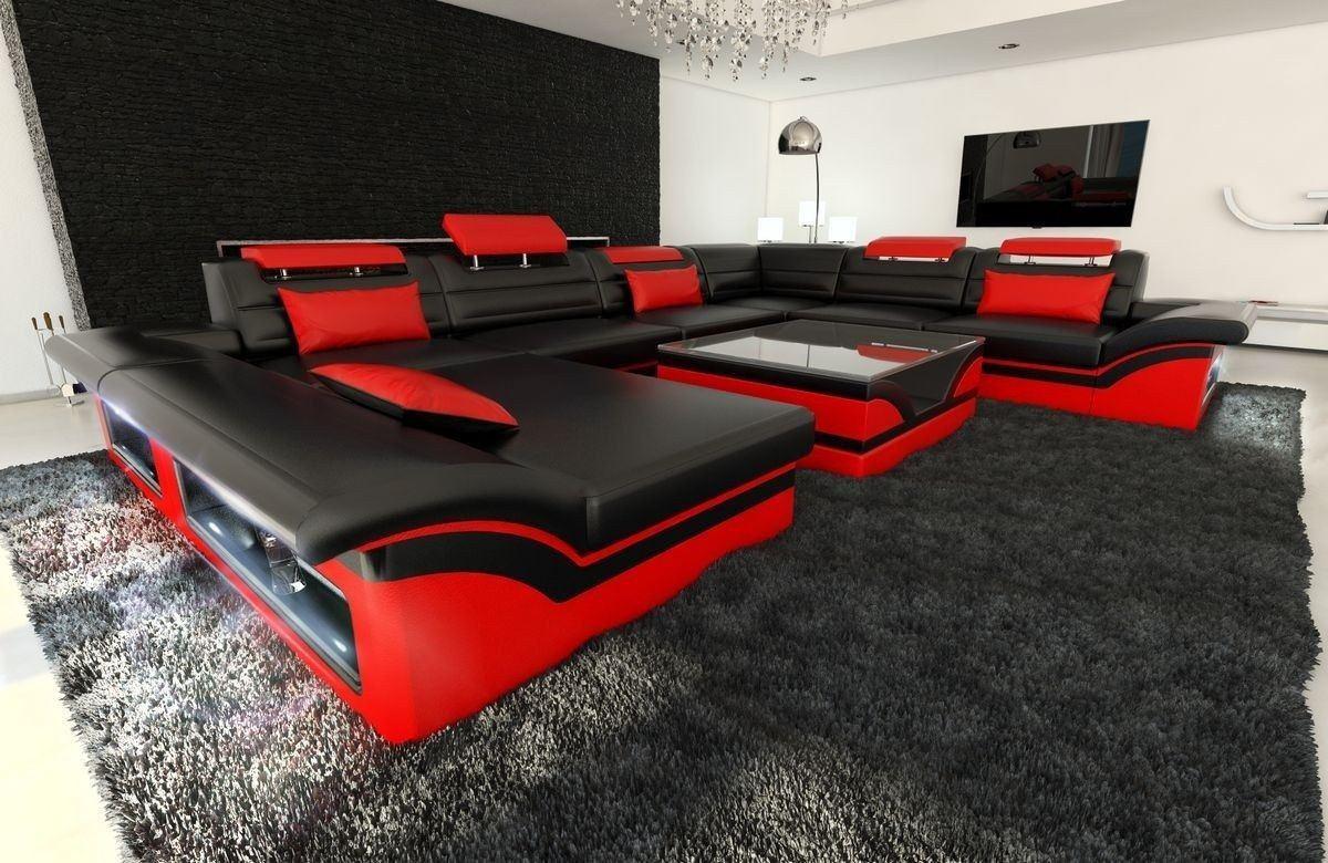 xxl wohnlandschaft enzo schwarz rot. Black Bedroom Furniture Sets. Home Design Ideas