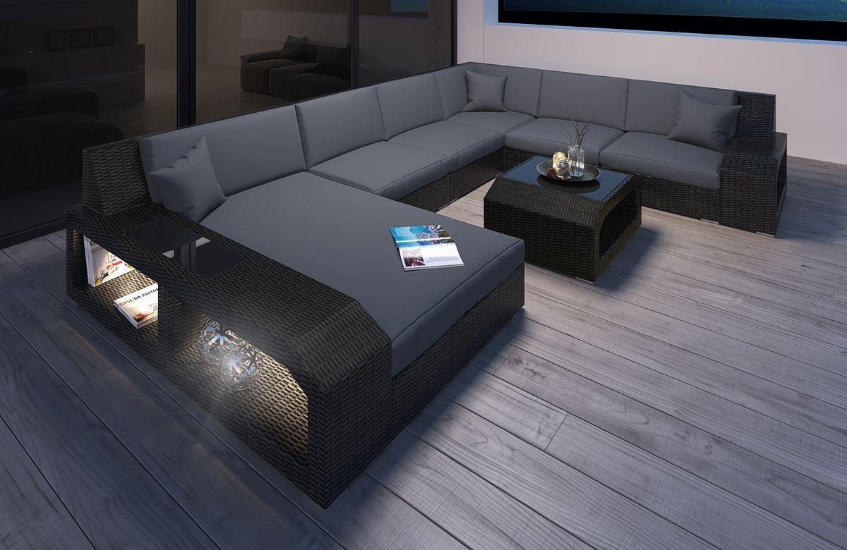 Rattan lounge schwarz grau  Rattan Sofa Matera U mit LED Belleuchtung - Rattan Gartenmöbel