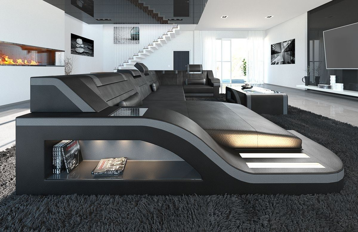 sofa wohnlandschaft palermo in leder als u form schwarz grau. Black Bedroom Furniture Sets. Home Design Ideas