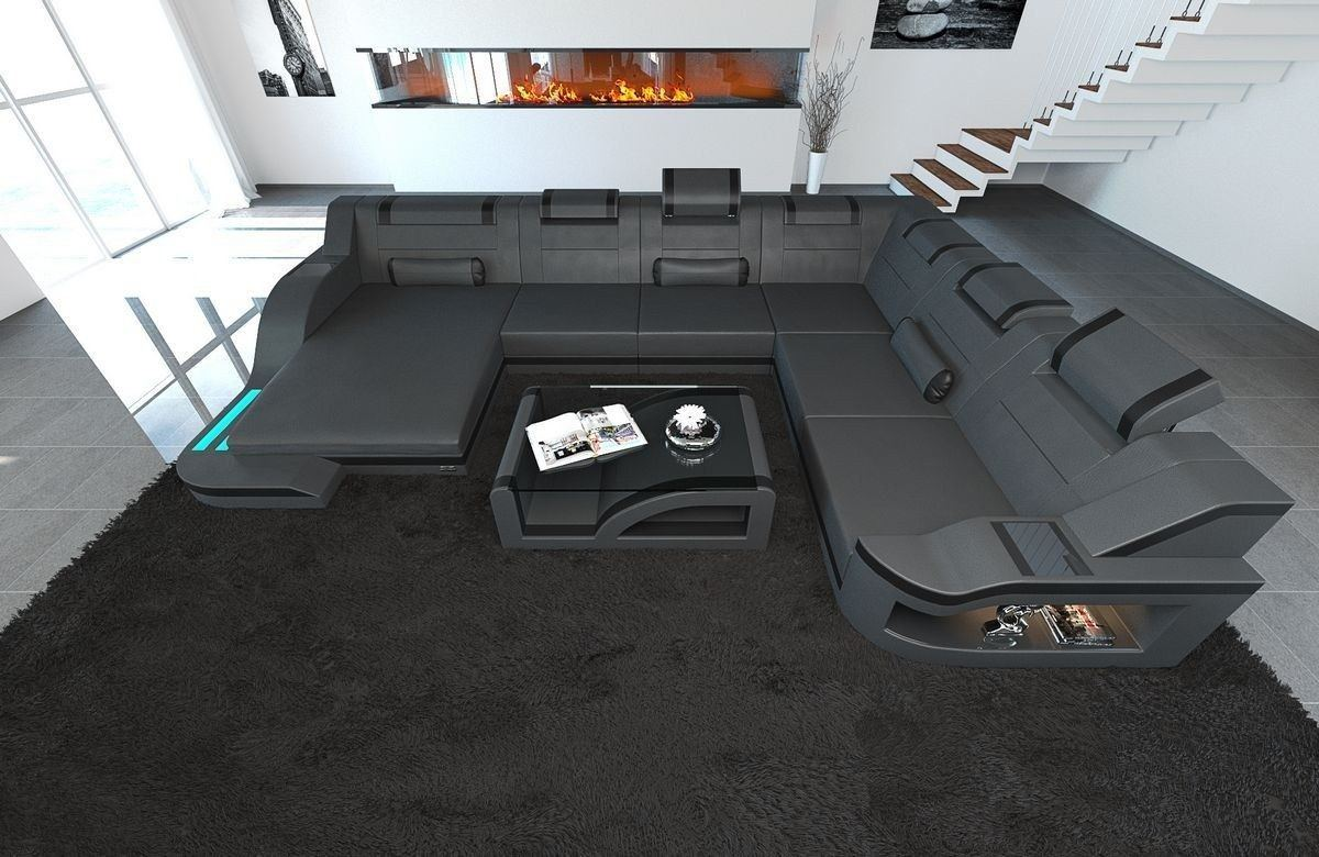xxl wohnlandschaft palermo xxl in leder mit farben grau schwarz. Black Bedroom Furniture Sets. Home Design Ideas