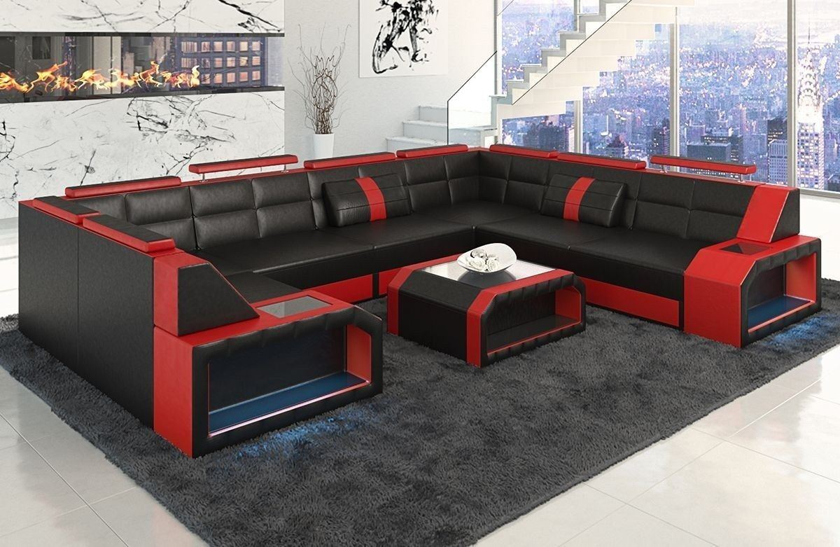 Sofa Wohnlandschaft Pesaro In Leder Als U Form Schwarz Und Rot